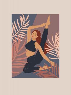 Наклейка Feminine concept. Cute girl doing yoga poses. Lifestyle by young woman. Fashion illustration by femininity, beauty and mental health. Vector cartoon