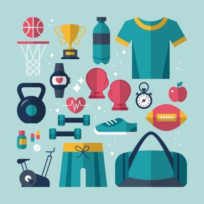 Наклейка Установить Фитнес и здоровье плоские иконки