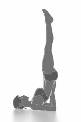 Наклейка Фитнес и растяжения на белом, изолированные - разогреть концепции