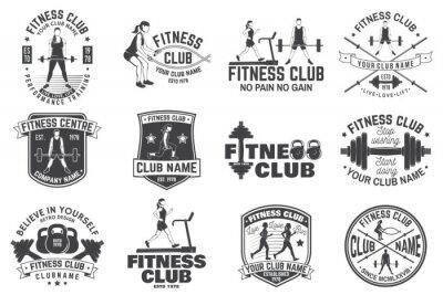 Наклейка Значки фитнес-клуба. Вектор. Для эмблем фитнес-центров, знака тренажерного зала и других.
