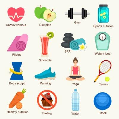 Наклейка Фитнес набор иконок