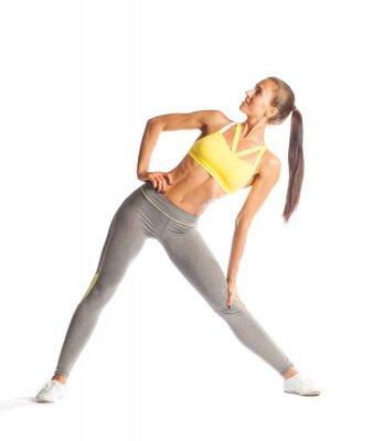 Наклейка Фитнес женщина делает упражнения, улыбаясь и глядя вверх, изолированные на белом фоне