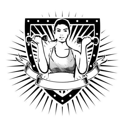 Наклейка Фитнес женщина щит