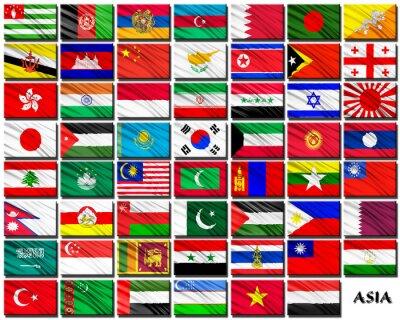 Наклейка Флаги стран Азии в алфавитном порядке