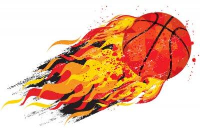 Наклейка Пылающий Баскетбол