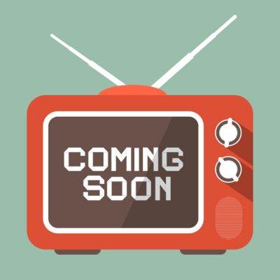 Наклейка Flat Design Coming Soon Vector Title on Retro TV Screen