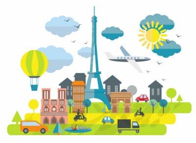 Наклейка Плоский дизайн иллюстрация с Эйфелевой башни в Париже города