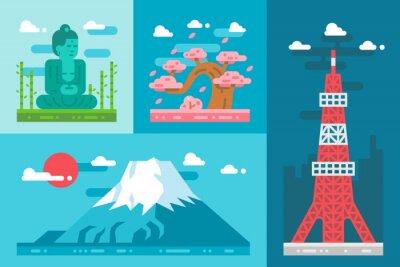 Наклейка Плоский дизайн ориентиры Япония комплект