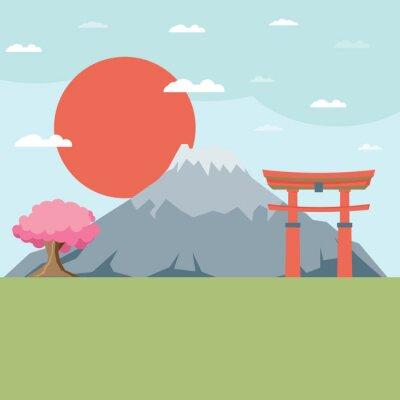 Наклейка Плоский дизайн ландшафта Японии иллюстрации вектор