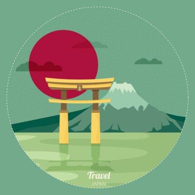 Наклейка Плоский дизайн пейзаж иллюстрация вектор Япония