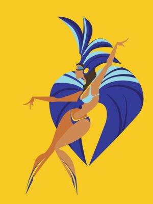 Наклейка плоский геометрический дизайн танцы самба королевы
