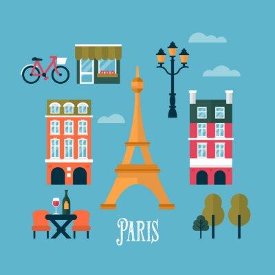 Наклейка Плоские стильные иконки для Парижа, Франция. Путешествия и туризм infogra