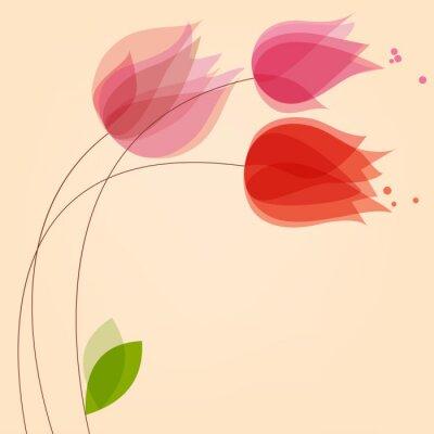 Наклейка Цветочный фон с тюльпанами
