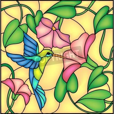 Наклейка Цветочные композиции с тропическими цветами и летать колибри колибри, векторные иллюстрации