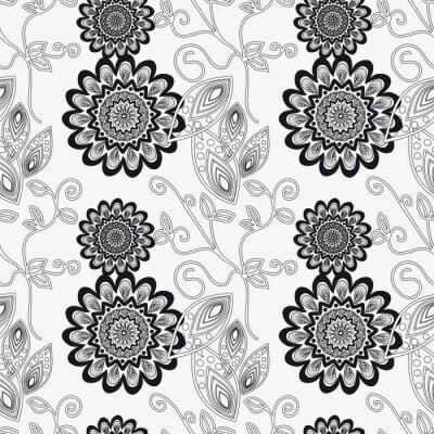 Наклейка Цветочный орнамент в черно-белом.