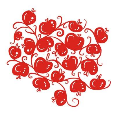 Наклейка Цветочные ornamnet с красными яблоками для вашего дизайна