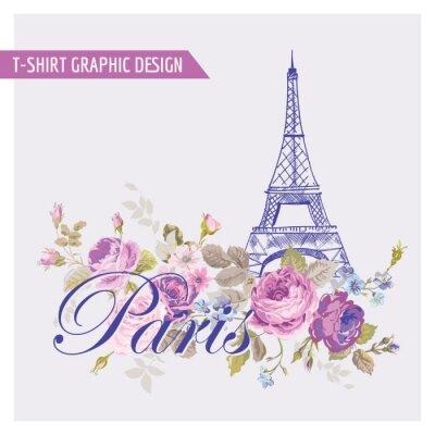 Наклейка Цветочные Париж Графический дизайн - для футболки, мода, печать