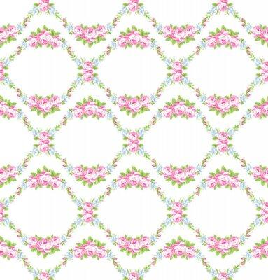Наклейка Цветочный узор с розовыми розами сад