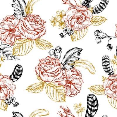 Наклейка Цветочный бесшовный фон с розами и перьев