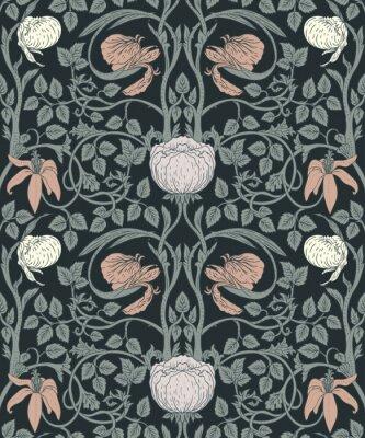 Наклейка Цветочные старинные бесшовные шаблон для ретро обои. Зачарованные цветы. Искусство и ремесла вдохновили.