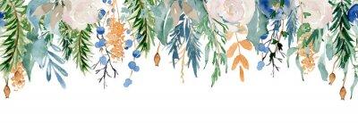 Наклейка Floral winter seamless border illustration. Christmas Decoration Print Design Template