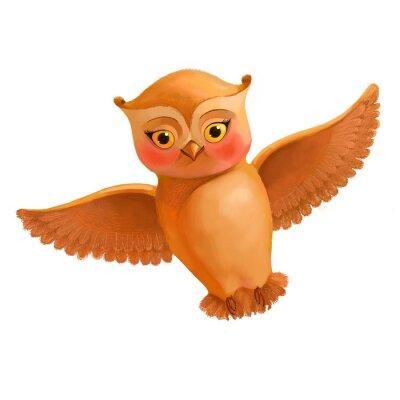 Наклейка Летающие значок совы. Иллюстрация в мультяшном стиле коричневой совы. S