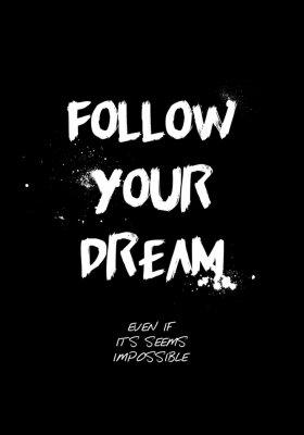 Наклейка follow your dream quotes tshirt design. brush stroke font style. vector illustration