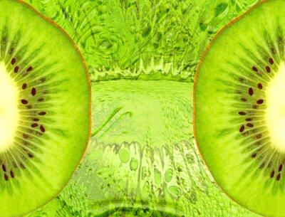 Наклейка Питание фон с зелеными кусочками киви.