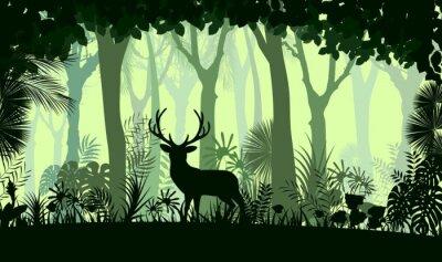 Наклейка Лес фон с диким оленем деревьев
