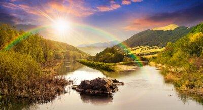 Наклейка лес река с камнями и травой на закате