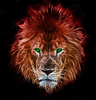 Наклейка Фрактальная цифрового фантазии искусство льва на фоне изолированные