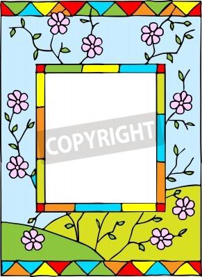Наклейка Рама с весенними цветами. Стилизованное витража. Векторная иллюстрация.