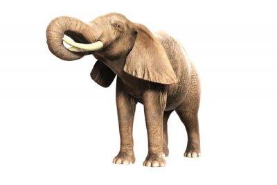 Наклейка Freigestellter Elefant мит erhobenem Russel (gerendertes Bild)