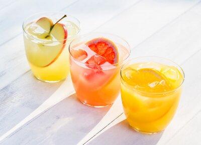 Наклейка Fresh fruit juice from oranges apples pink grapefruit