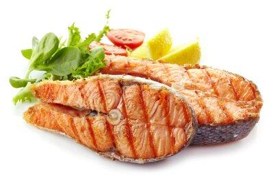 Наклейка Свежее на гриле кусочки стейк из лосося