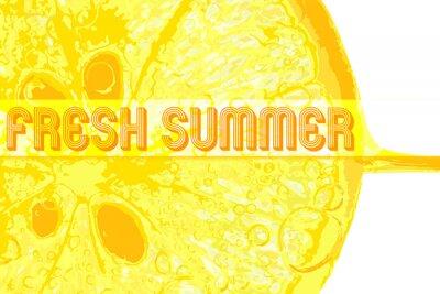 Наклейка Свежий лимонный с текстом свежим летом