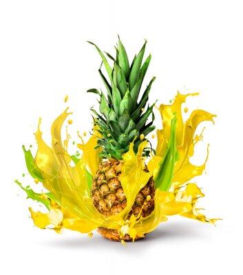 Наклейка Свежий ананас фрукты всплеск сочный вкус