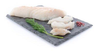 Наклейка Свежий филе сырой трески на грифельной пластины