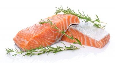 Наклейка Свежий лосось филе сырой зеленью
