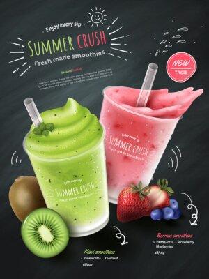 Наклейка Объявления о фруктовых коктейлях