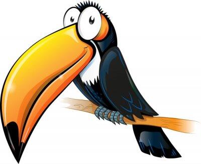 Наклейка fun toucan cartoon isolated on white.