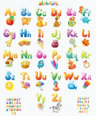 Наклейка Забавный алфавит с картинками для детей