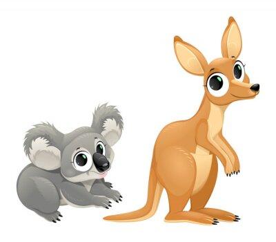 Наклейка Смешные сумчатые, коала и кенгуру