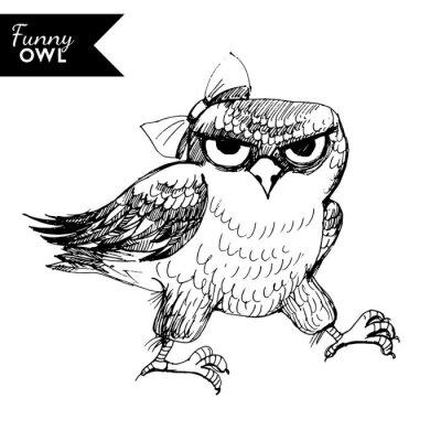Наклейка смешно сова характер