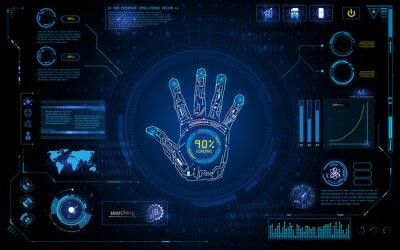 Наклейка футуристическая рука сканирования идентифицировать себя с HUD элементом интерфейса экрана монитора дизайн фона шаблона