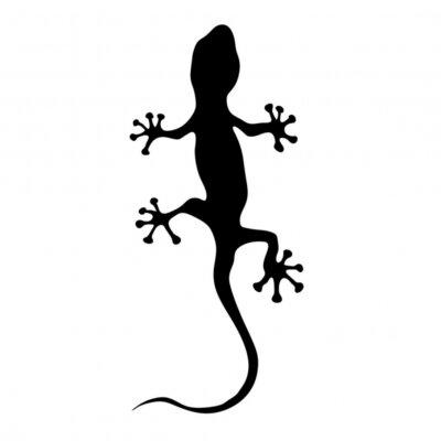 Наклейка геккон в черном векторные иллюстрации силуэт