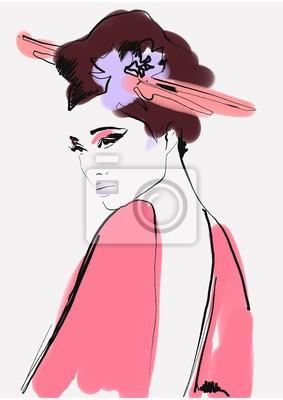 Наклейка geisha. woman in kimono. asian woman. fashion background.