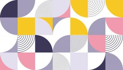 Наклейка Геометрический фон с векторным фоном со скандинавским абстрактным цветом или швейцарской геометрией отпечатков прямоугольников, квадратов и кругов
