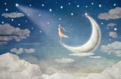Наклейка Девушка на Луне восхищается ночное небо - иллюстрация искусство