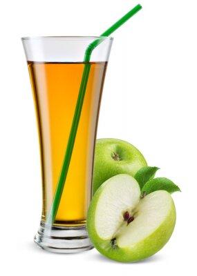 Наклейка Стакан яблочного сока с фруктами на белом.